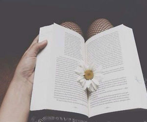 book, flowers, and reading image