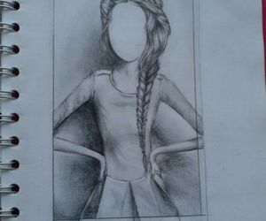 artist, girl, and pencil image