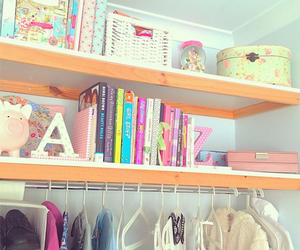 books, closet, and clothes image