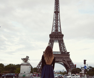 girl, paris, and eiffle tower image