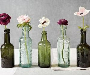 flowers, bottle, and black and white image