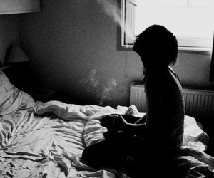 alone, bedroom, and cigarret image