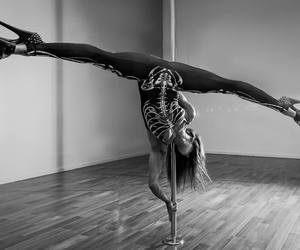 dance, pole, and black and white image