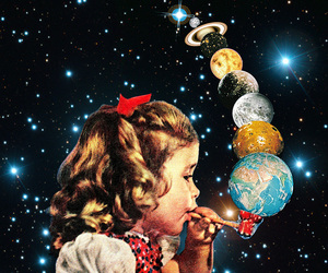 bubbles, planet, and vintage image