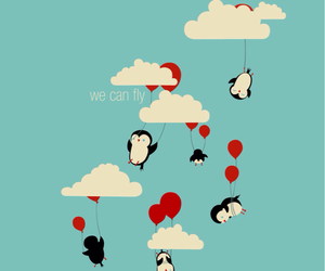 fly, penguin, and balloons image