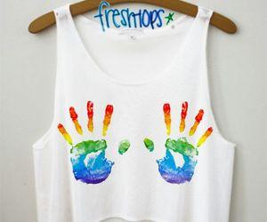 fashion, rainbow, and hands image