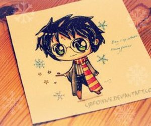 chibi, drawing, and harry potter image
