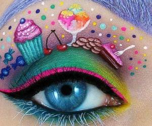 eye makeup, cute, and colourful image