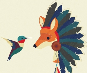fox, hummingbird, and cute image