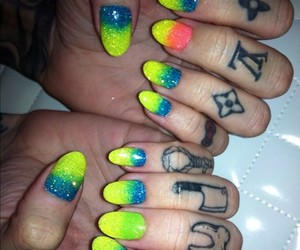 blue, yellow, and ombre nails image