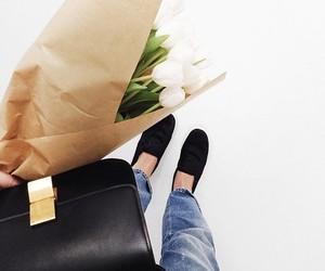 flowers, fashion, and bag image