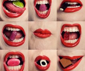 lips, sweet, and red image