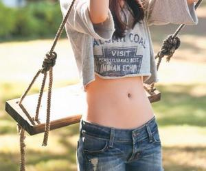 girl, shorts, and swing image