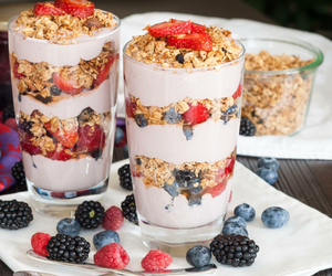 food, fruit, and granola image