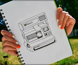 camera, polaroid, and drawing image