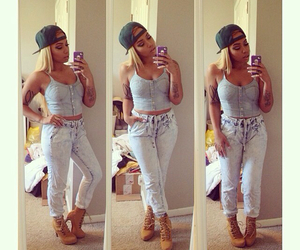 bustier, jean, and jogger pants image
