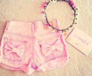 pink, shorts, and flowers image