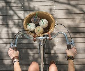 starbucks, bike, and summer image