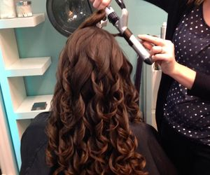 brunette, curl, and hair image