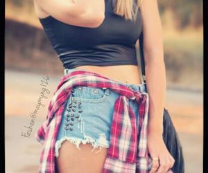 flannel, outfits, and shorts image