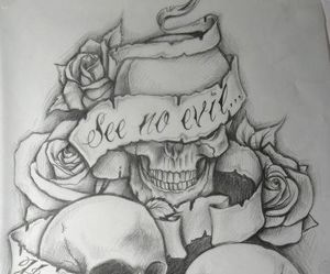 rose, skull, and tattoo image