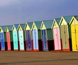 colour, photography, and beach huts image