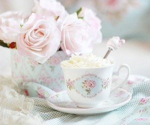 flowers, cup, and pastel image