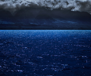 blue, night, and sea image