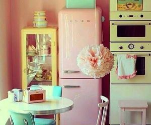 vintage, kitchen, and pink image