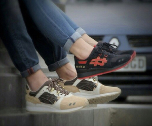 asics, couple, and shoes image