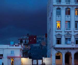 night, city, and blue image