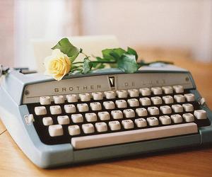 vintage, rose, and typewriter image