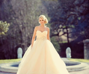wedding dress, ball gown, and sleeveless image