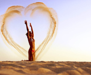 heart, girl, and sand image