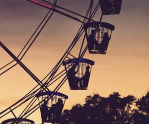 sunset, ferris wheel, and couple image