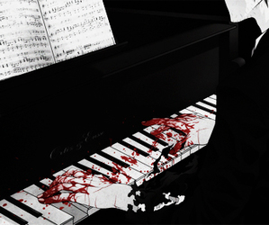 blood, piano, and anime image