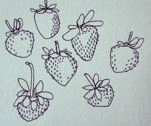 strawberry, drawing, and art image