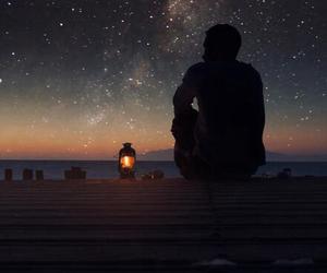 alone, boy, and lamp image