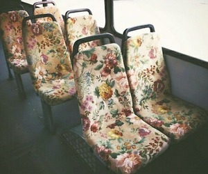 flowers, bus, and vintage image