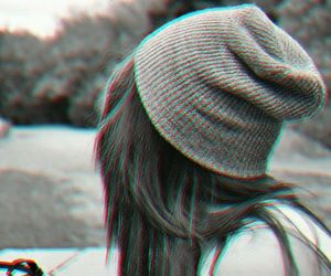 girl, black and white, and beanie image