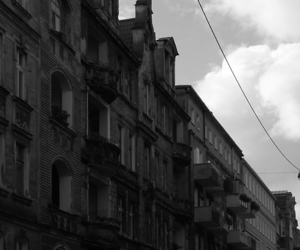 black and white, building, and clouds image