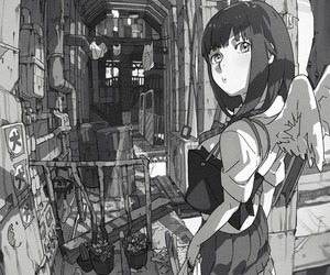 anime, anime girl, and monochrome image