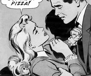 pizza, food, and comic image