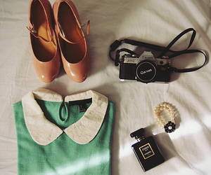 coco chanel, canon camera, and peter pan collar image