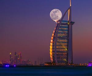 Dubai, moon, and night image