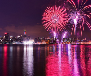 fireworks, city, and pink image