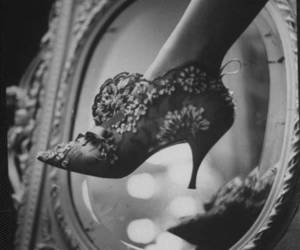 vintage, shoes, and black and white image