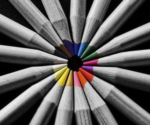 pencil, black and white, and color image