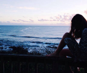 girl, sunset, and ocean image