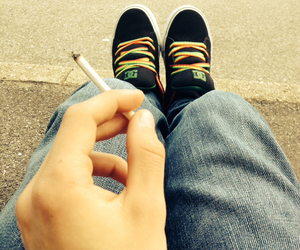 cigarette, relax, and smoke image